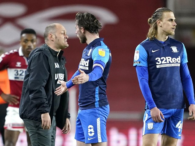 Preston skipper Alan Browne protests after being red-carded against Middlesbrough