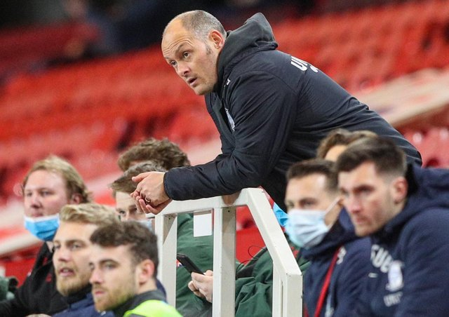 Preston manager Alex Neil watches the second half at Middlesbrough from the stand