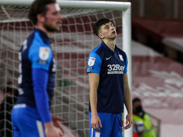 Jordan Storey reacts to his own goal.