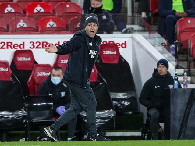 Preston North End manager Alex Neil on the touchline against Middlesbrough