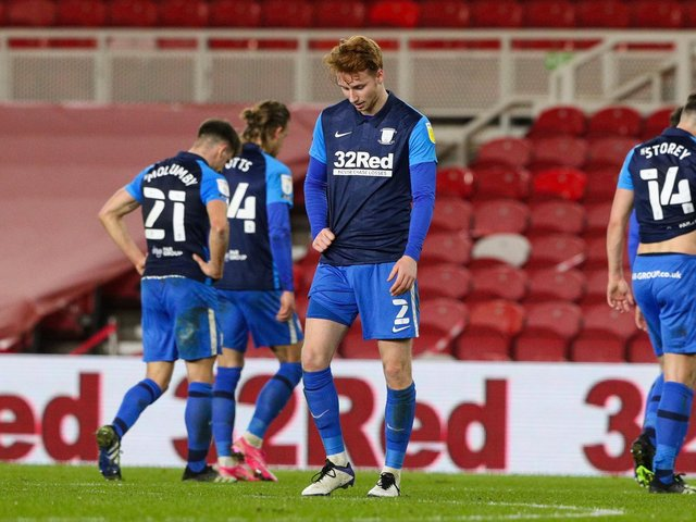 PNE players look dejected at the Riverside Stadium.