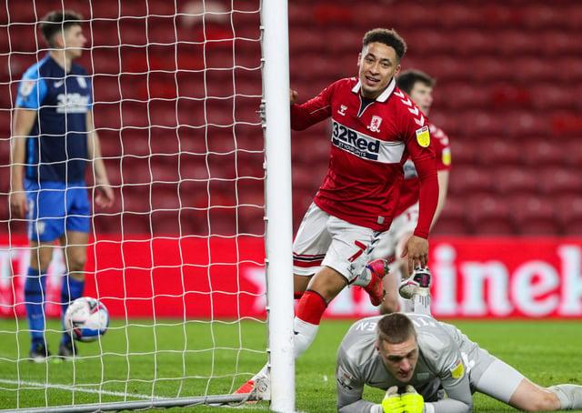 Middlesbrough's Marcus Tavernier celebrates scoring his side's second goal