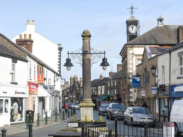 High Street and Market Cross in the Wyre  town of Garstang