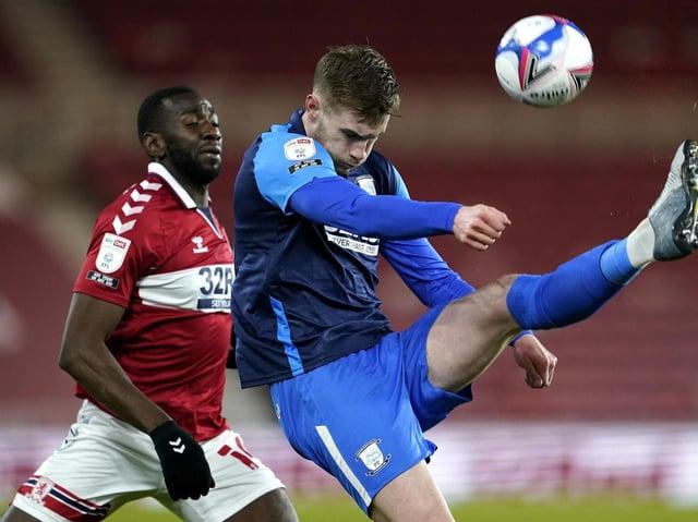 Preston North End defender Liam Lindsay makes a clearance against Middlesbrough