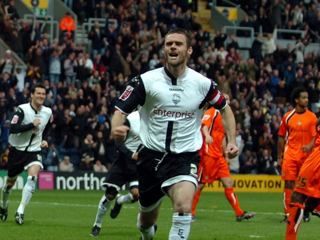 Graham Alexander celebrates scoring for Preston North End against Luton in November 2006 - his 100th career goal