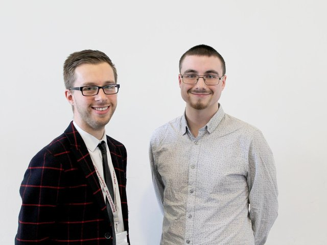 Blackpool Sixth Form College maths teacher Rob Fisher (left) with former student and Oxford maths undergraduate Callum Wardle (right).