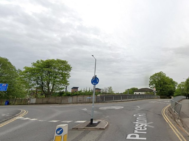 The boy was struck at the mini-roundabout next to Leyland train station, between Station Brow and Moss Lane, at 7.45pm last night (Thursday, March 18). Pic: Google