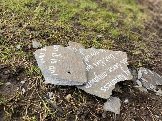 The broken slate in Townley Gardens