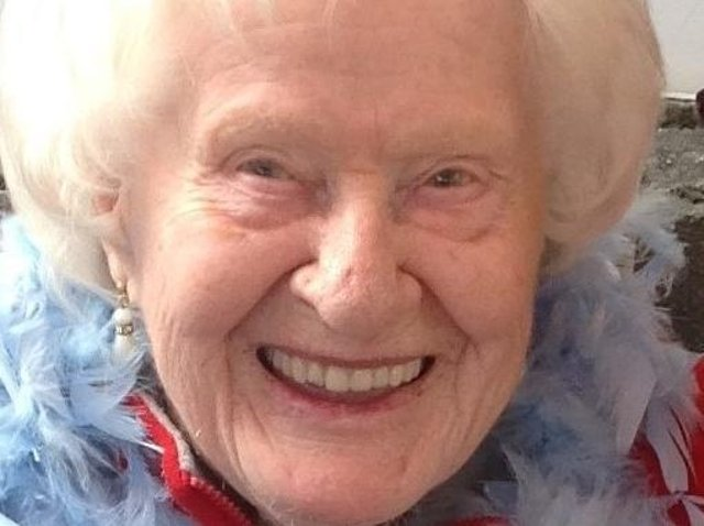 Annie Taylor on Hollywood Day at Moorside Hall nursing home. Annie celebrated her 100th birthday on March 18.