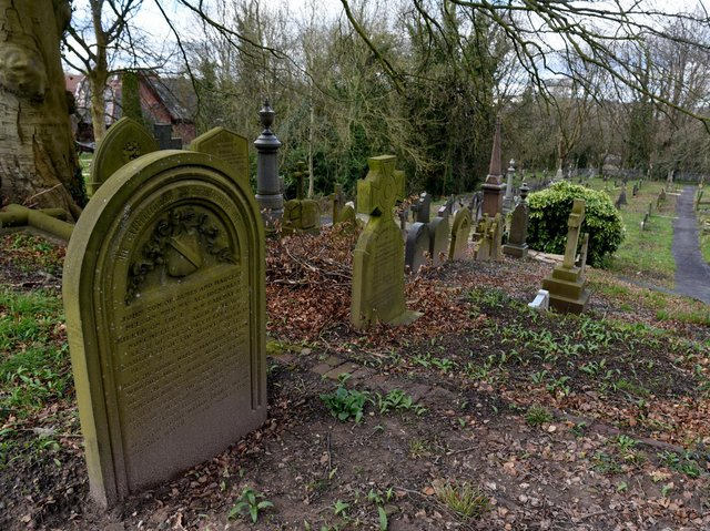 Specialist contractors are ensuring that the headstones in St. Mary's churchyard in Penwortham are secure (images: Neil Cross)