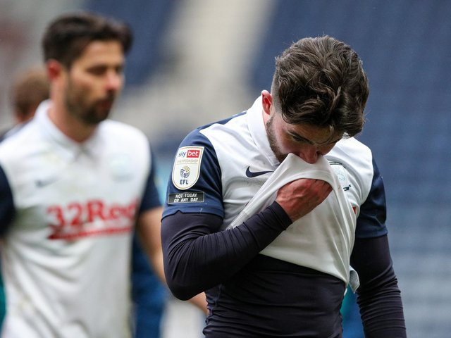 Sean Maguire looks dejected as PNE lost to Luton Town.