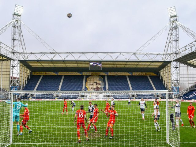 Preston North End on the attack against Luton at Deepdale