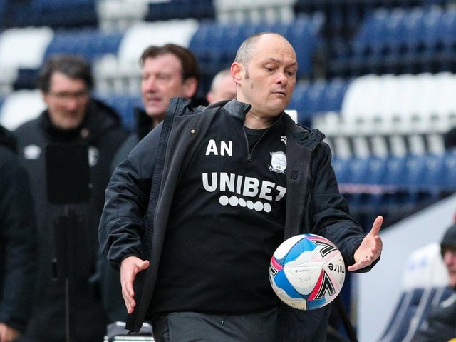 Alex Neil on the touchline during Preston North End's defeat to Luton at Deepdale