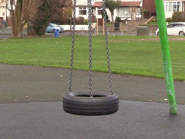 Sad sight - a single tyre swing is the only piece of non-sporting equipment left at the Bent Lane playground