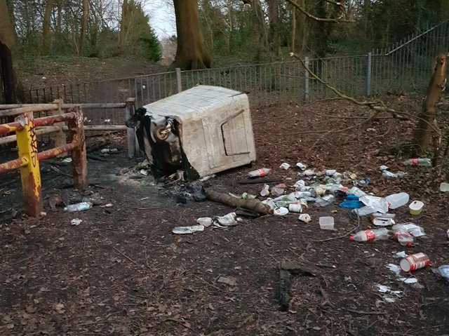 Bins with burnt rubbish were left by youths at Grange Park