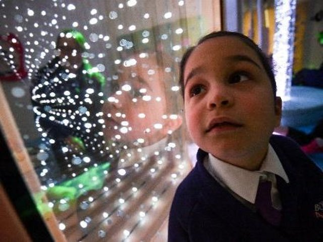 A new sensory room has opened at Boundary Primary, pictured is 6-year-old Mia. Photo: Daniel Martino