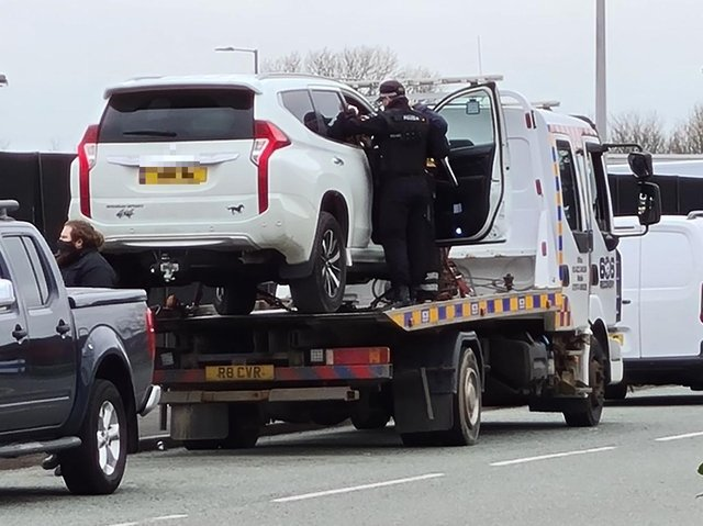 A Mitsubishi 4x4 has been seized by police and towed away from a Traveller encampment in Caxton Road, Fulwood this morning (March 23)