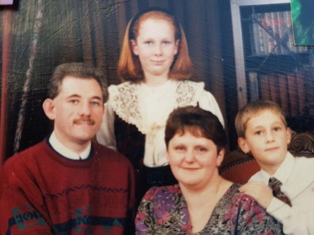 A family photo showing Paula as a young girl with dad Russell Carbery, mum Anne and brother Stuart.