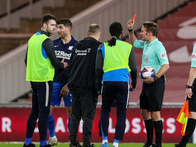 Former Preston North End manager Alex Neil is shown the red card by referee Oliver Langford at Middlesbrough