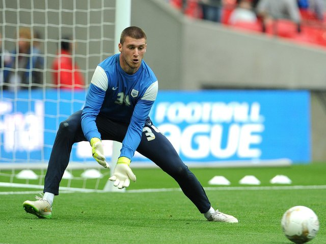 Sam Johnstone in the warm-up before Preston North End's play-off final victory over Swindon at Wembley in May 2015