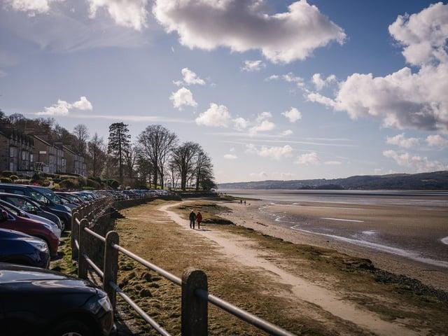 The promenade and beach at Arnside.