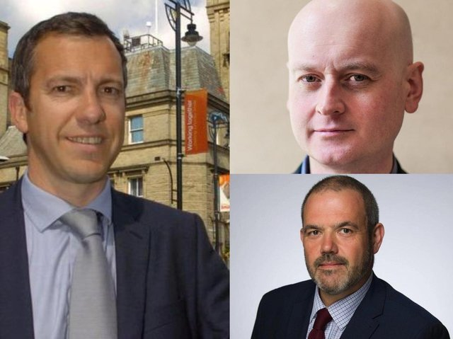 (Clockwise from left) Alistair Bradley, leader of Chorley Council, Matthew Brown, leader of Preston City Council, Paul Foster, leader of South Ribble Borough Council