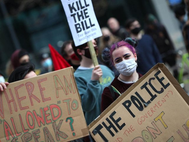 Demonstrators during the 'Kill The Bill' protest against The Police, Crime, Sentencing and Courts Bill in St Peter's Square, Manchester