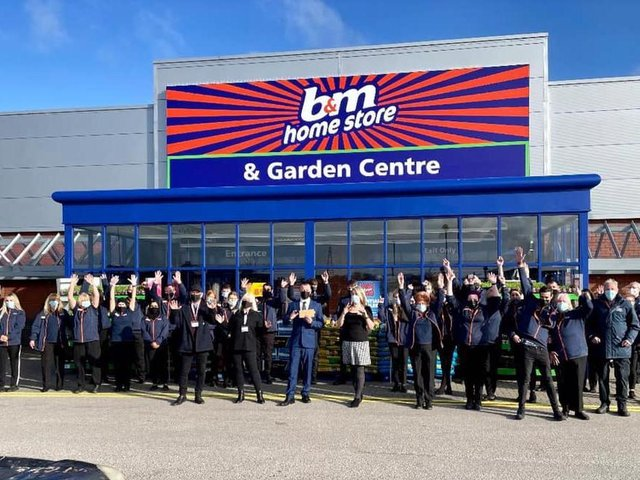 More than 30 members of staff were on hand to welcome shoppers to the newly opened B&M store in Mariner's Way, Preston this morning (Saturday, March 27). Pic: Luv Preston