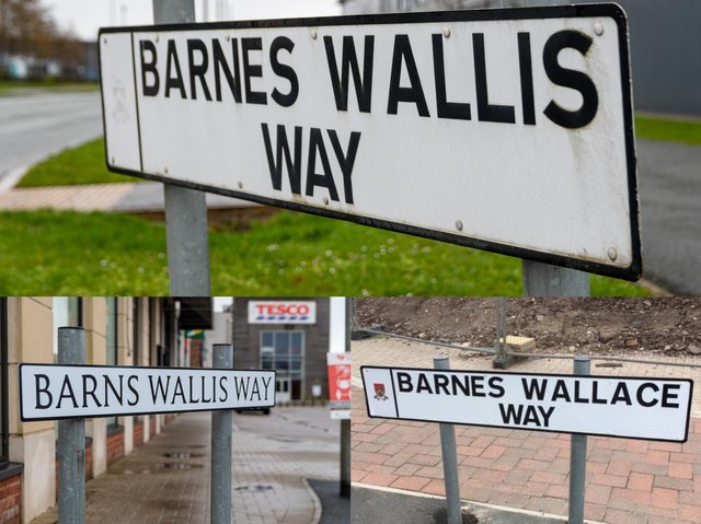 Barnes Wallis's name has proved tough for signwriters to get right - how it should be (top); how it appears on a recently-installed sign (bottom left);  how it was on a sign erected and quickly replaced in 2016 (bottom right)