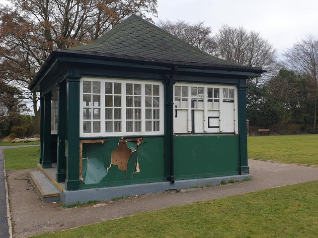 Vandals have damaged the pavilion at the bowling green in Happy Mount Park.