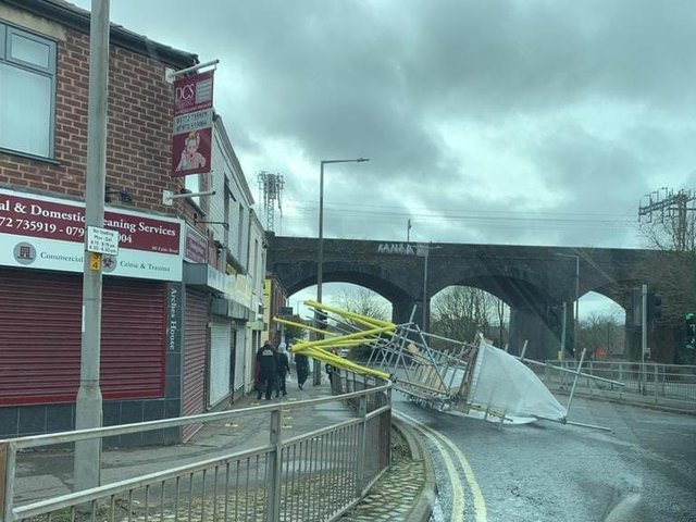 The scaffolding at Preston Cycles collapsed at around 4.40pm yesterday (Sunday, March 28)