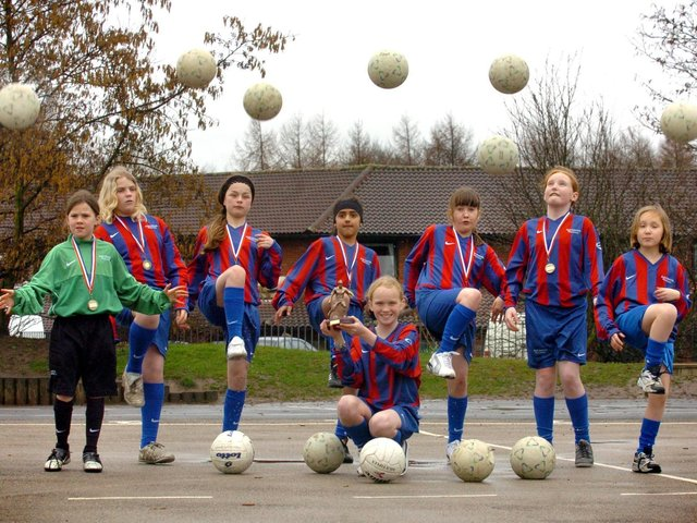 The girls football team at Sherwood Primary school are celebrating after winning Preston schools six-a-side football competition for the second year running. Pictured back, left to right: Holly O'Louglin, Lisa Forbes, Savannah Da Silva-Watkins, Sana Zinga, Hannah Crook, Nicole Murphy and Harriet Coles. Front: Captain Lauren Moyes