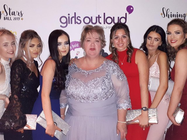 Jane Kenyon with Girls Out Loud participants at the Shining Stars Ball 2019