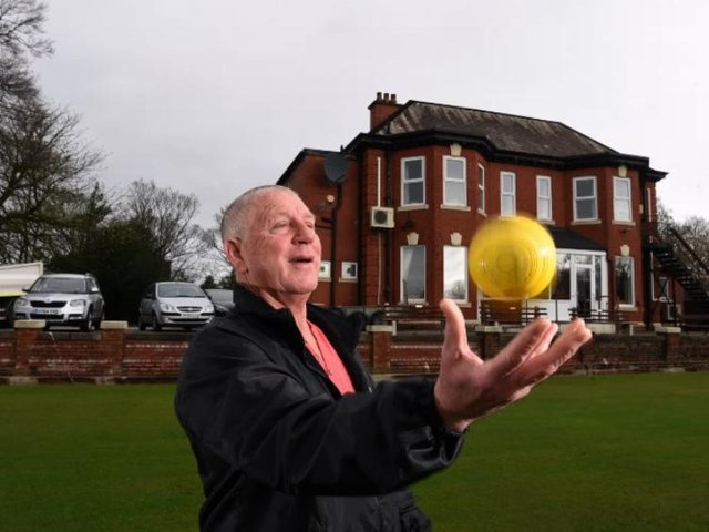 Martin Hill gets ready to roll as bowling gets back underway at Preston's Thurlby Club.