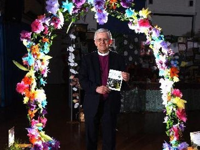 Bishop Julian officially opens the exhibition at St Stephen's Primary School, photo: Neil Cross