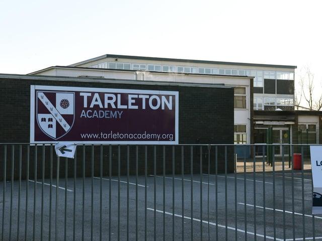 Banner sign outside Tarleton Academy