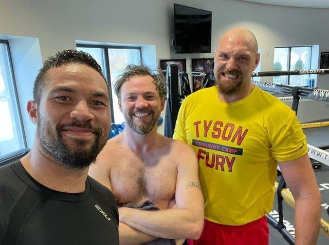 Joseph Parker, left, with Andy Lee, middle, and Tyson Fury
