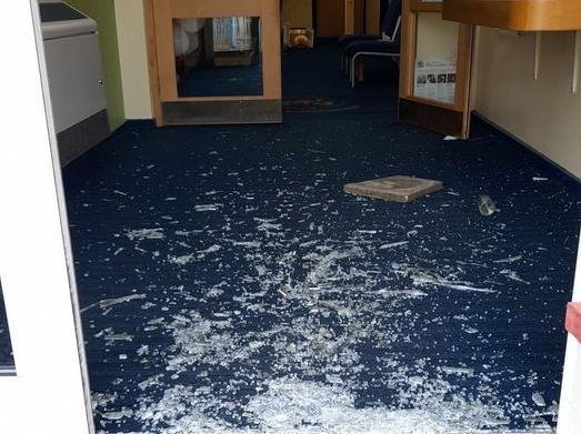 The entrance to Queen's Drive Primary School in Fulwood was smashed with a paving flag on Monday evening (March 29) as thieves broke into the school at around 11.30pm
