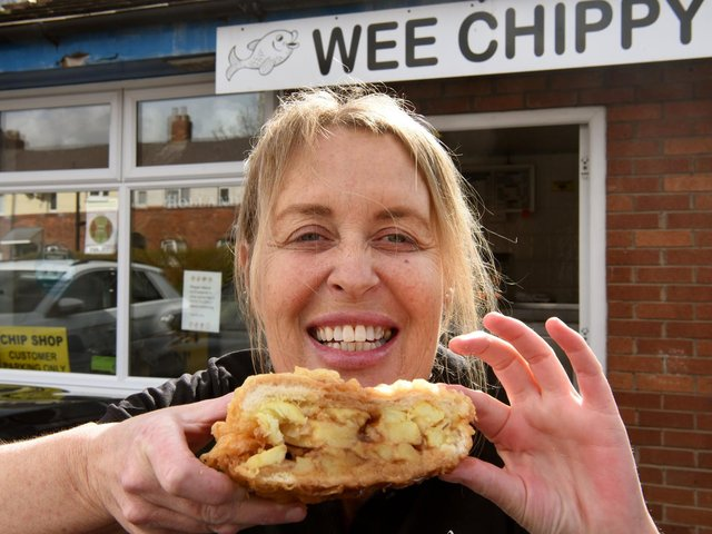 Tina at the Wee Chippy with her battered butty Photos: Neil Cross