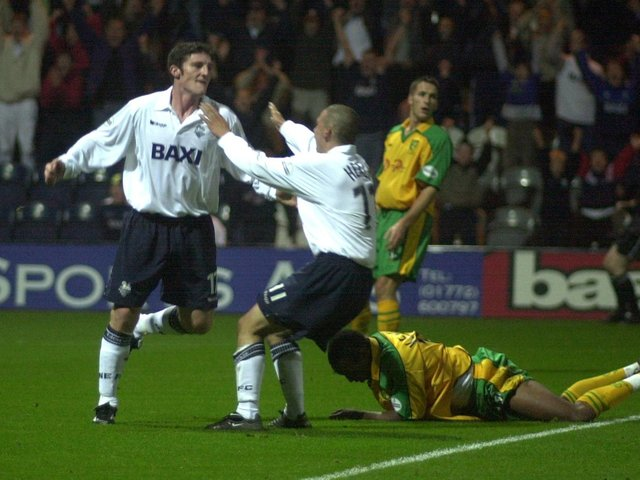 Jonathan Macken celebrates scoring in Preston North End's 4-0 victory over Norwich City at Deepdale in September 2001