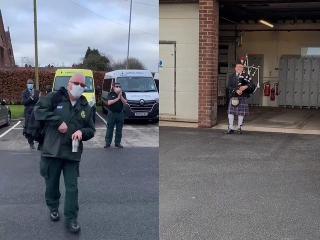 Earlier this week, NWAS care assistant David Malkin returned to work after a 12 month battle with COVID-19. He was greeted on his first day back at Whitefield ambulance station in Bury with a guard of honour from his colleagues and a bag piper