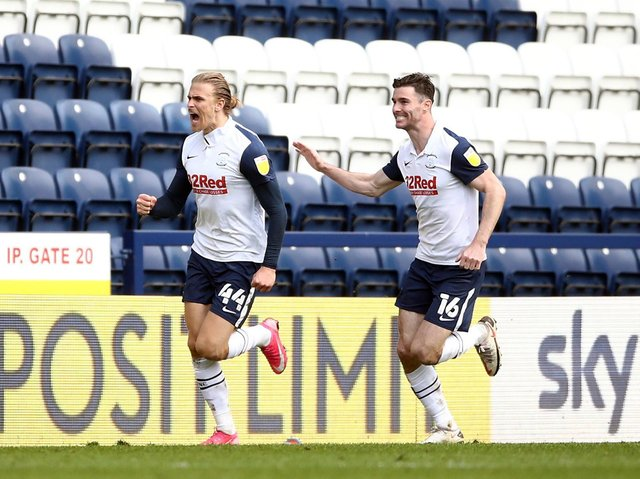 Brad Potts and Andrew Hughes celebrate Preston North End's late equaliser against Norwich City at Deepdale on Good Friday