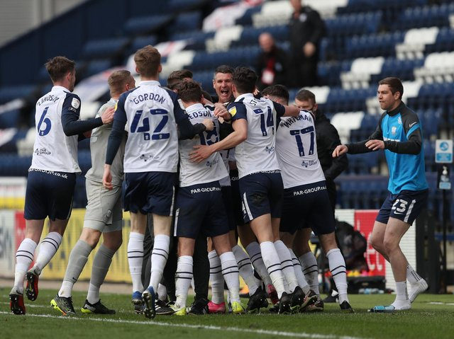 Preston North End players celebrate Bradd Potts' late equaliser against Norwich City at Deepdale