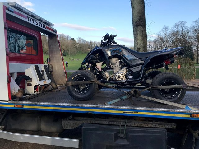 The quad bike after being seized by police