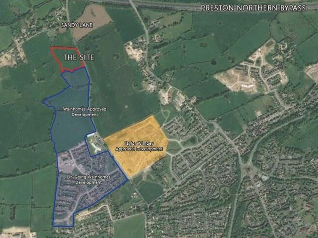 Planned and existing development off Sandy Lane, part of the North West Preston Masterplan area, where around 5,500 homes will eventually be built (image: Wainhomes/Google, via Preston City Council planning portal)