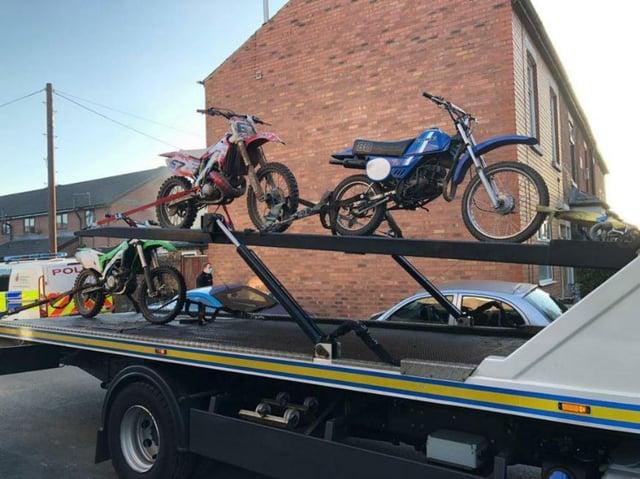 Police towing away the bikes in the Callon area of Preston