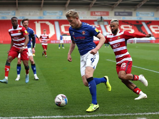 Jayden Stockley in action for Charlton Athletic against Doncaster
