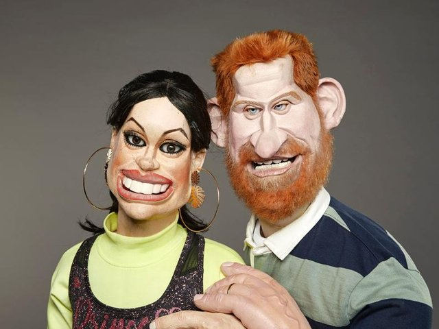 Duke and Duchess of Sussex in puppet form for the new series of Spitting Image (Avalon/Mark Harrison/PA Wire)