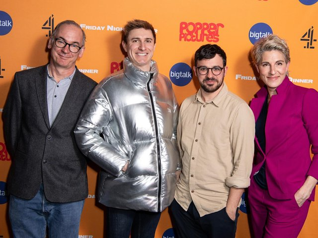 Paul Ritter pictured with the rest of the Friday Night Dinner case. From left Tom Rosenthal, Simon Bird and Tamsin Greig.