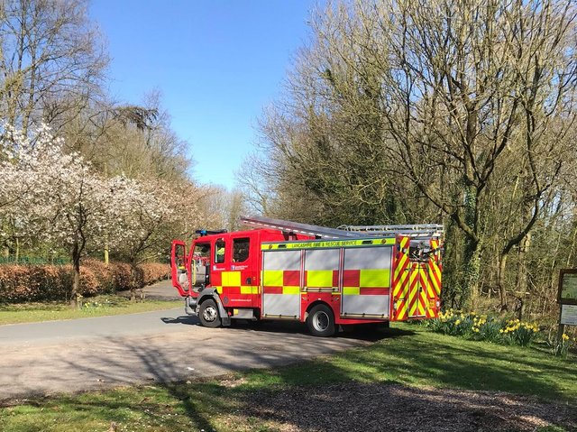 A fire engine responding to deliberate park fires in Preston yesterday (Sunday, April 5). Pic credit: Lancashire Fire and Rescuer Service